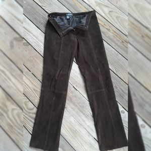 Leather Brown WOMAN'S Brown Leather Linen pants 6